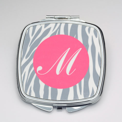 Personalized Grey Zebra Compact Make Up Mirror