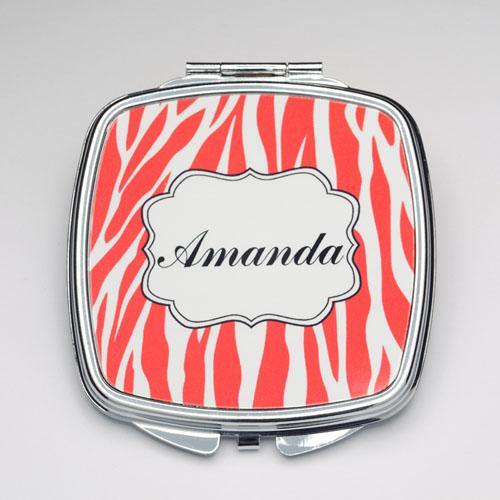 Personalized Orange Zebra Compact Make Up Mirror