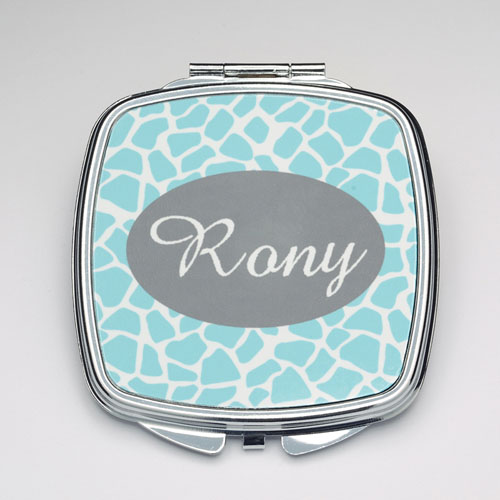 Personalized Aqua Giraffe Compact Make Up Mirror