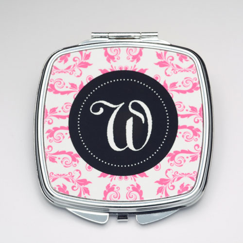 Personalized Fuchsia Floral Compact Make Up Mirror