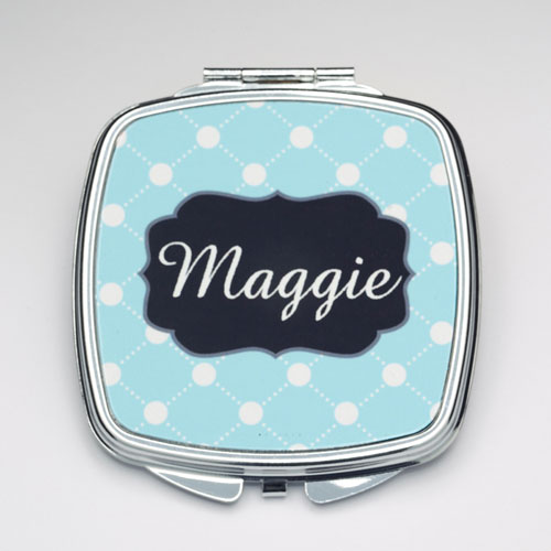 Personalized Lime Big Compact Make Up Mirror