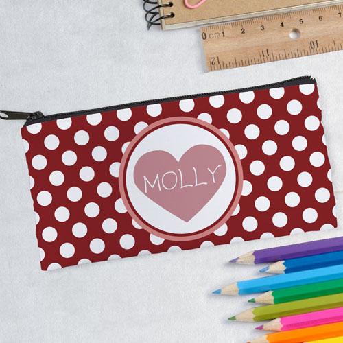design your own polka dots heart pencil case