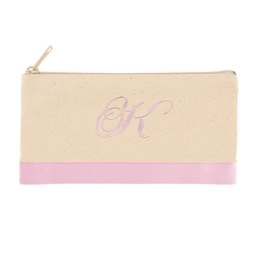 2 Tone Baby Pink Personalized Embroidered One Initial Small (Single Side) Cosmetic Bag
