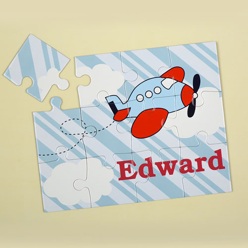 Stripe Plane Personalized Kids Puzzle