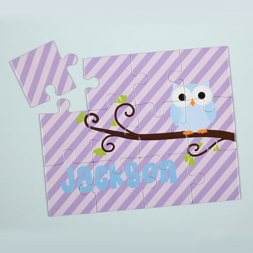 Lavender Owl Personalized Kids Puzzle