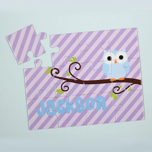Lavender Owl Personalized Kids Puzzle