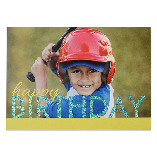 Create Your Own Bold Glitter Birthday Personalized Invitation Card, 5X7 Yellow Blue Announcement Cards
