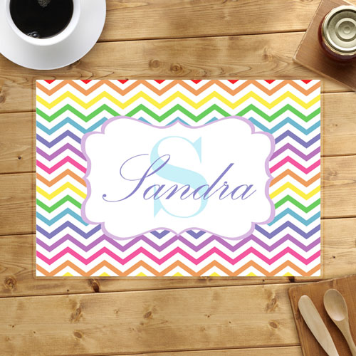 Personalized Rainbow Chevron Placemats