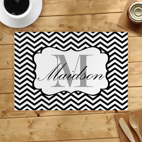 Personalized Black Chevron Placemats