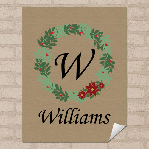 Linen Christmas Wreath Personalized Poster Print, Small 8.5