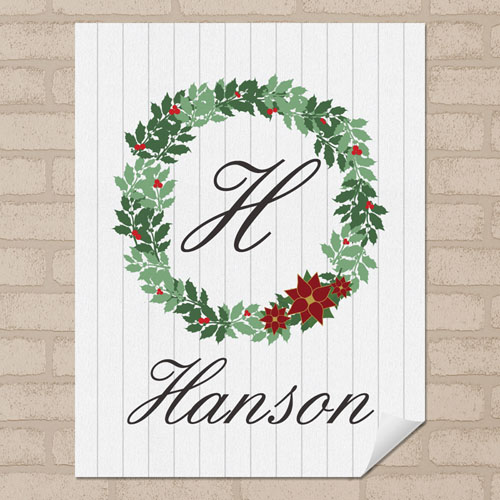 Wood Christmas Wreath Personalized Poster Print