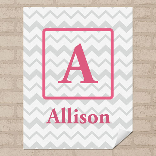 Grey Chevron Personalized Name Poster Print Small 8.5