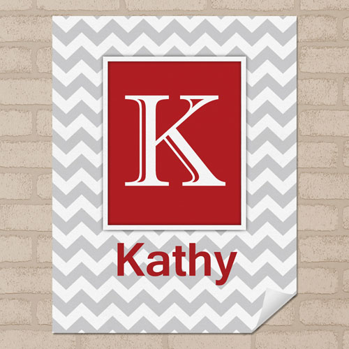 Red Grey Chevron Personalized Name Poster Print Small 8.5