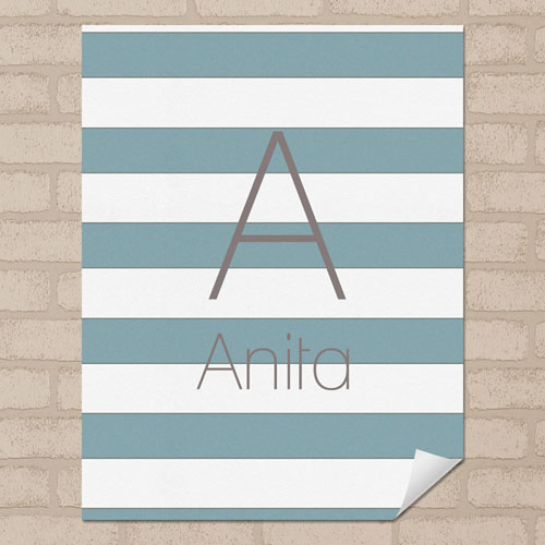 Grey Stripe Personalized Name Poster Print Small 8.5