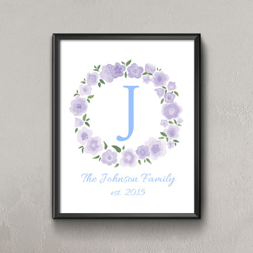 Lavender Watercolor Floral Personalized Poster Print Small 8.5