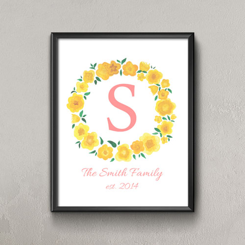 Lemon Watercolor Floral Personalized Poster Print Small 8.5