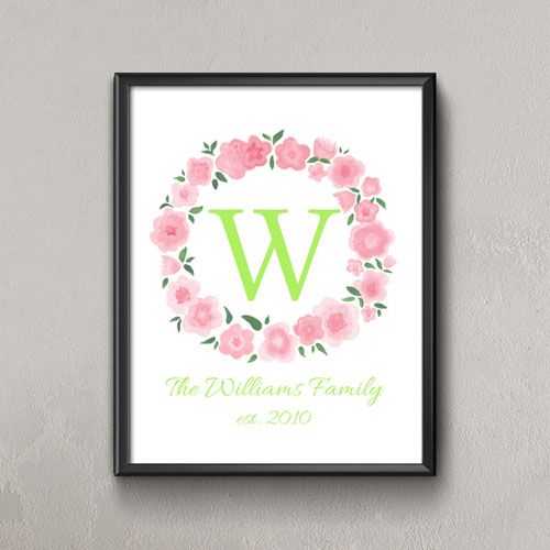 Pink Watercolor Floral Personalized Poster Print Small 8.5