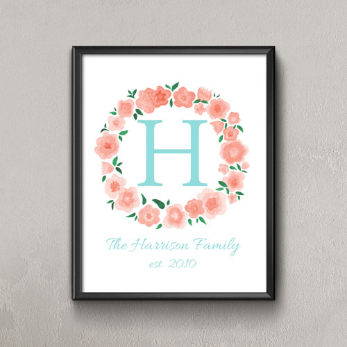 Carol Watercolor Floral Personalized Poster Print Small 8.5