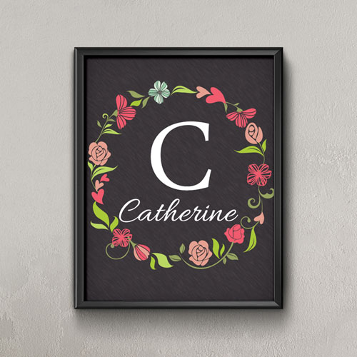 Black Wreath Personalized Poster Print, Small 8.5