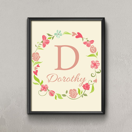 Lined Wreath Personalized Poster Print, Small 8.5