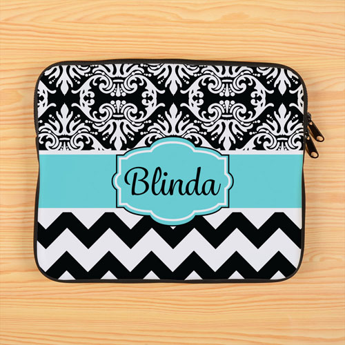 Chevron And Floral Personalized 11 Inch Laptop Sleeve