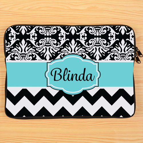 Chevron And Floral Personalized Macbook Pro 13 Sleeve (2015)