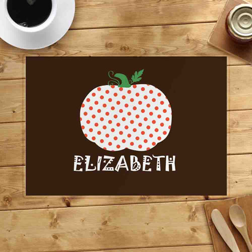 Personalized Polka Dots Pumpkin Placemats
