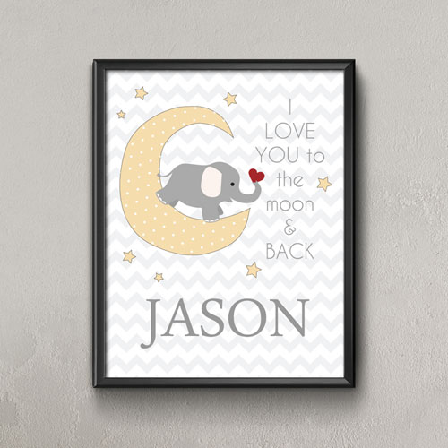 Moon Personalized Name Poster Print For Kids