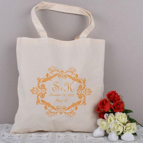 orange swirly script bridesmaid personalized wedding tote bag