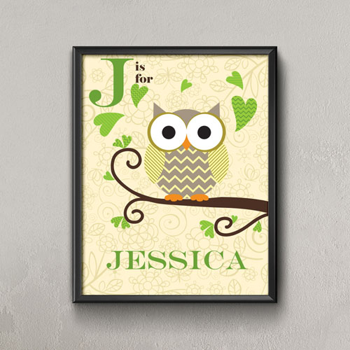 Owl Personalized Name Poster Print For Kids
