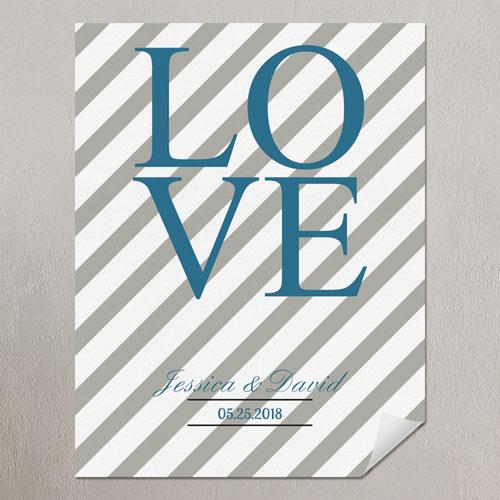 Love Silver Grey Chevron Personalized Poster Print Small 8.5