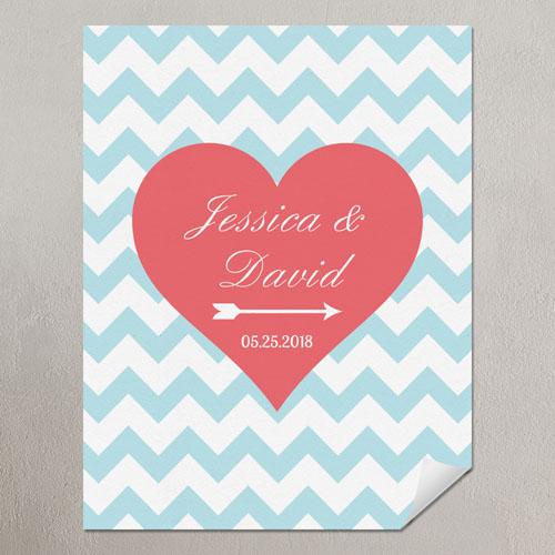 Heart Aqua Chevron Personalized Poster Print Small 8.5