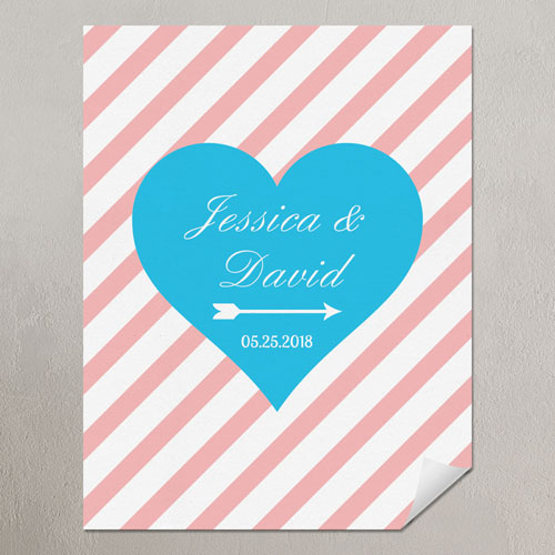Heart Pink Stripes Personalized Poster Print Small 8.5