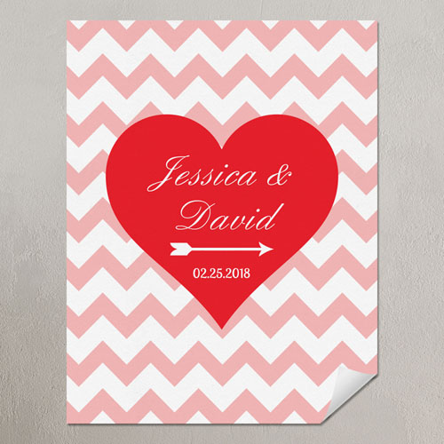 Heart Pink Chevron Personalized Poster Print, Small 8.5