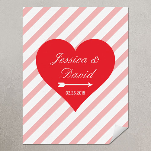 Heart Pink Stripes Personalized Poster Print, Small 8.5
