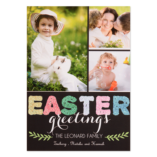 Love Blessing Glitter Personalized Easter Card 5X7