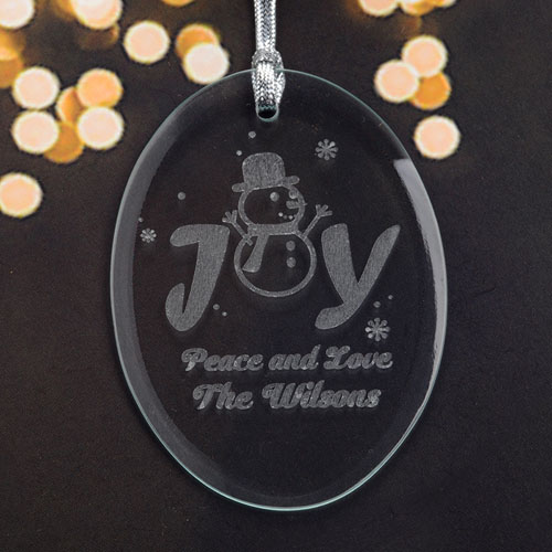 Personalized Laser Etched Joy Glass Ornament