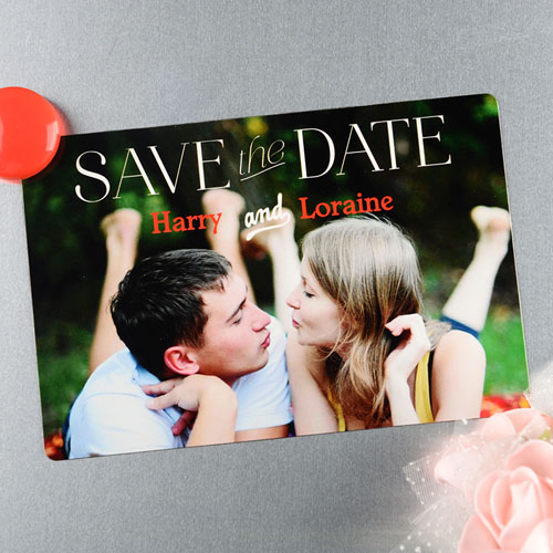 Heart Connection Personalized Wedding Magnet 4x6 Large