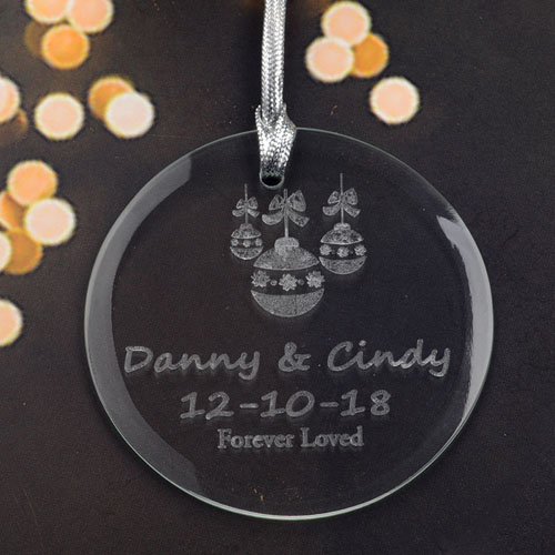 Personalized Engraving Christmas Balls Round Glass Ornament