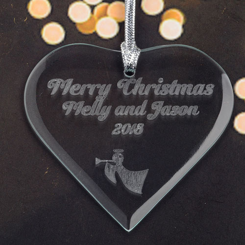Personalized Engraved Angel Horn Heart Shaped Ornament