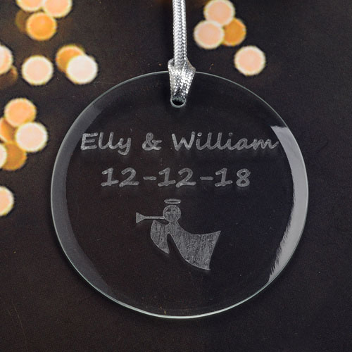 Personalized Engraving Angel Horn Round Glass Ornament