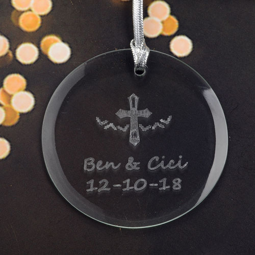Baptism Ornament Round Glass: Personalized Engraving Cross Round Glass Ornament