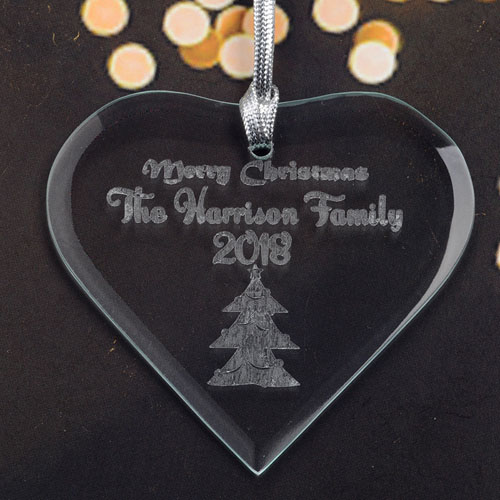 Personalized Engraved Christmas Tree Heart Shaped Ornament