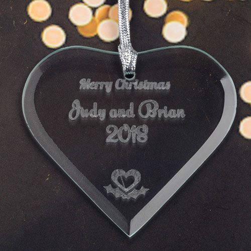 Personalized Engraved Heart Heart Shaped Ornament