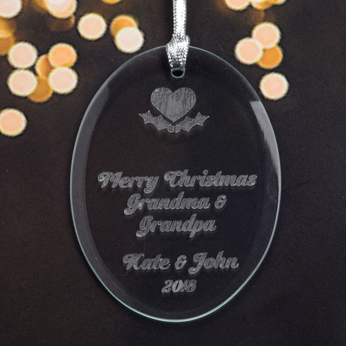 Personalized Laser Etched Heart Glass Ornament