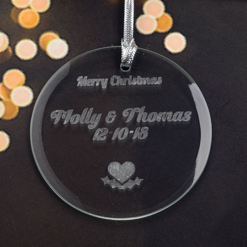 Personalized Engraving Heart Round Glass Ornament