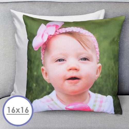 16 X 16 Photo Gallery Custom Pillow (White Back) Cushion (No Insert)