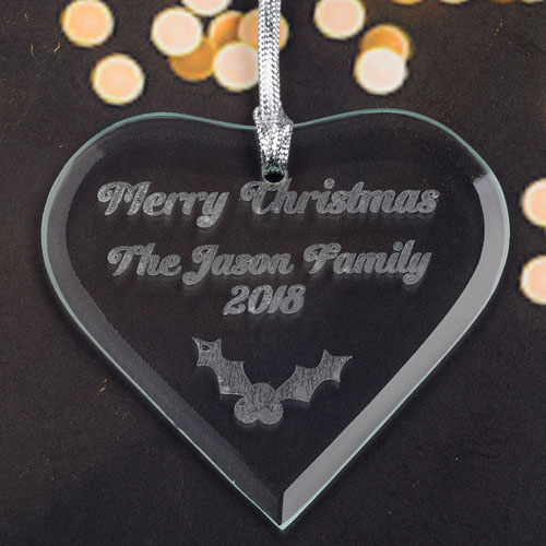 Personalized Engraved Holly Heart Shaped Ornament