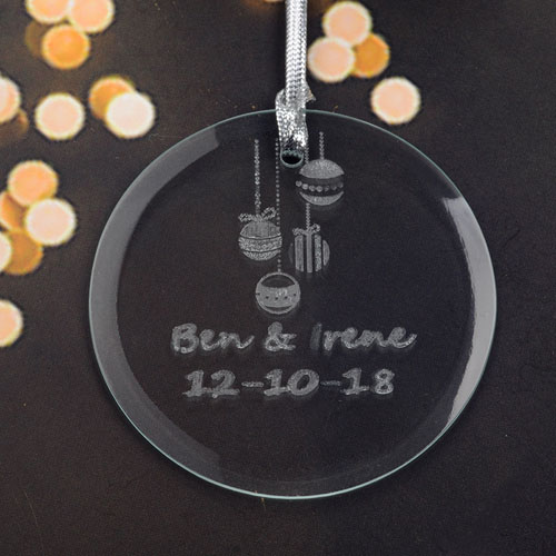 Personalized Engraving Ornaments Round Glass Ornament