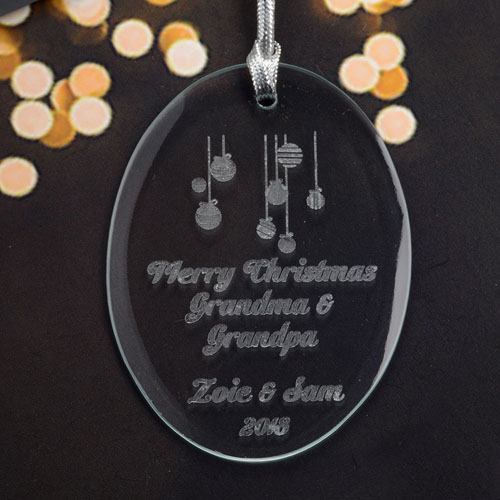 Personalized Laser Etched Ornaments Glass Ornament